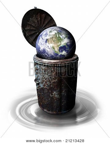 Earth In Garbage Bin