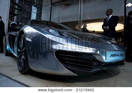 LONDON, UK - JUNE 21: The McLaren MP4-12C at the official opening of the McLaren showroom on Knightsbridge on June 21, 2011 in London, UK. The showroom opens with the official launch of the MP4-12C.