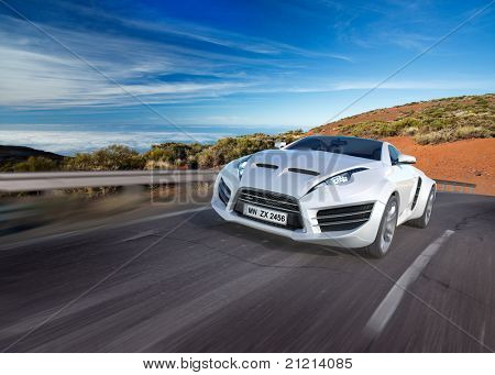 Sports car moving on the road. Non-branded concept car.