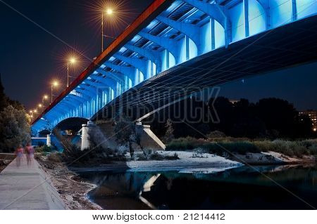 Night View Of Bridge In Warsaw