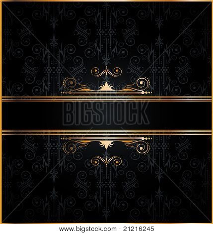 Elegant seamless wallpaper with golden fine decoration and place for your text. Ideal to use for classic invitation flyer or card.