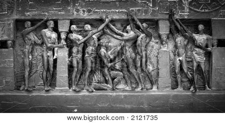 Parisian Bronze Sculpture Detail, Black And White With Film Grain Effect