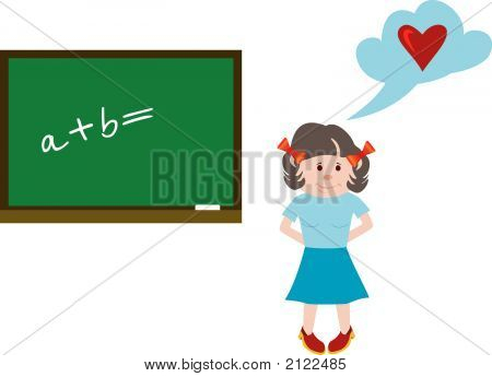 The Girl At A Lesson Of Mathematics. The Vector Image.