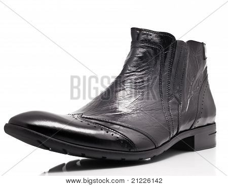 Black Patent Leather Mens Boot