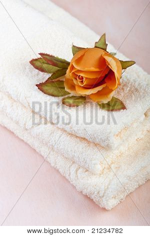 Spa Towels With Rose