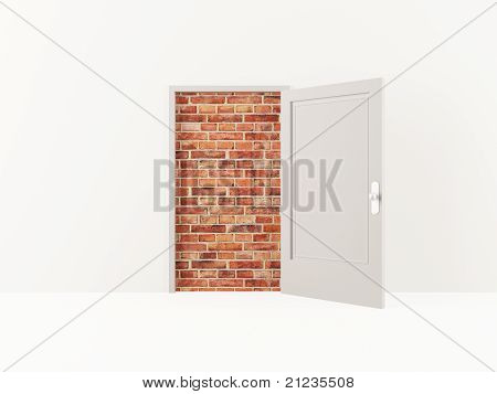 Door blocked by a brick wall