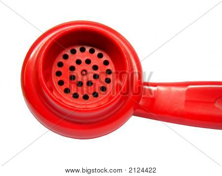 Isolated Red Telephone Mouth Piece