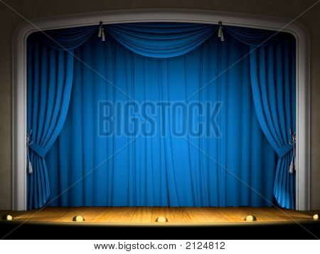 Empty Stage With Blue Curtain In Expectation Of Performance