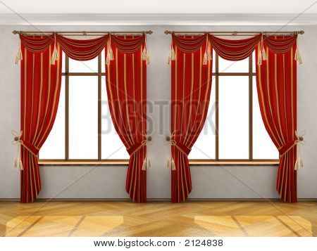 Interior With Two Big Windows And Red Elegant Portiere