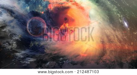 poster of Celestial Art Stars and Galaxies in Outer Space Showing the Beauty of Space exploration. Textures furnished by NASA 3d Render 3d Illustration