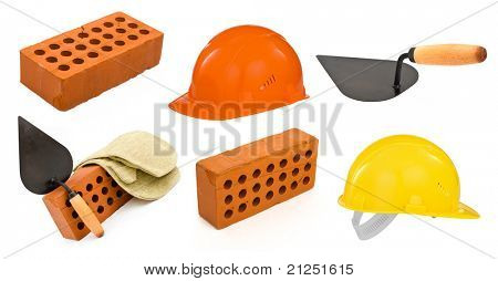 ceramic brick, trowel, hard hats and gauntlet set isolated on white