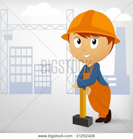 Builder Man With Sledgehammer On Construction Background