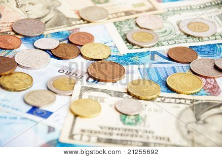 Mixed Coins And Paper Money
