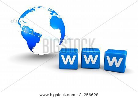 World globe and WWW text