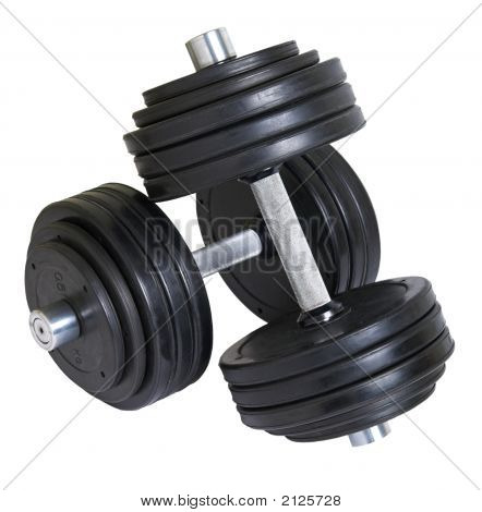 Pair Of Big Heavy Dumbbells Over White Background
