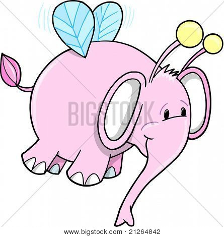 Cute Safari Bumble Bee Pink Elephant Vector Illustration