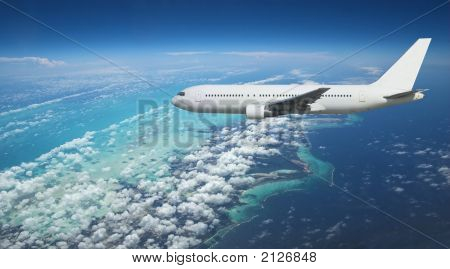 Airliner Over Exotic Island