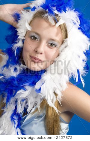 White And Blue Feather Portrait