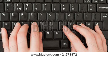 Woman Hands Typing On A Screen