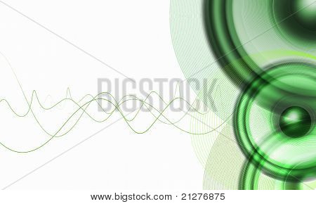 image of speakerphones and sound against white background