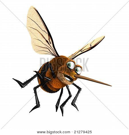 3D cartoon mosquito character scared