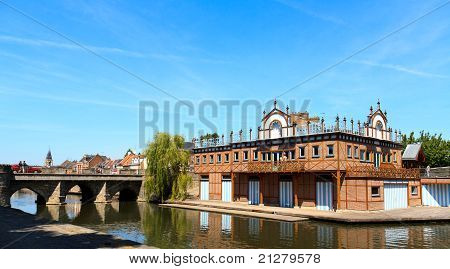 Boat House In The Center Of Amiens, France. On The Shore Of The River Somme.
