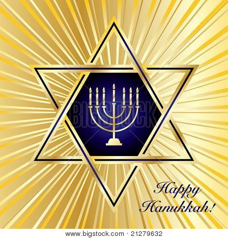 A Happy Hanukkah card template in blue and gold. Also available in vector format