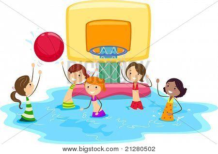Illustration of Girls Playing Water Basketball