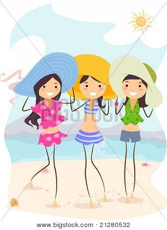 Illustration of Girls Wearing Different Summer Outfits
