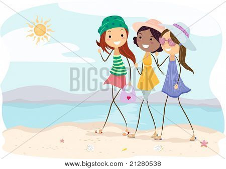 Illustration of Girls Walking on the Beach