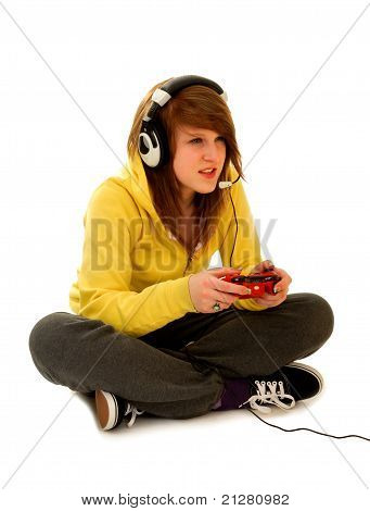 Teenage Girl Playing Video Game