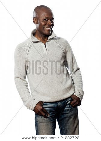 Portrait of a casual mature afro American man posing in studio on white isolated background