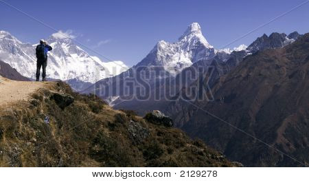 Ama Dablam And Trekker