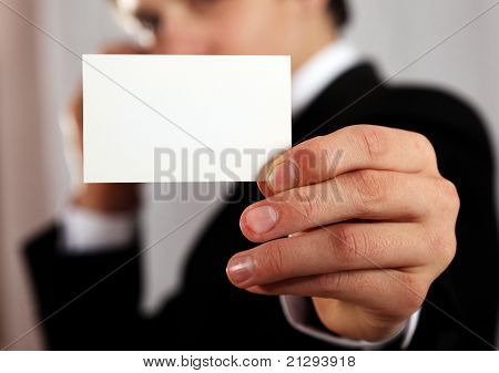 Presenting Blank Business Card