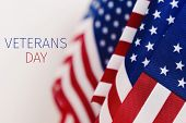 some american flags and the text veterans day against an off-white background poster