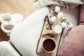 Autumn Cozy Breakfast. Romantic Breakfast. Cotton, A Cup Of Hot Coffee, A Candle, A Plaid, Glasses. poster