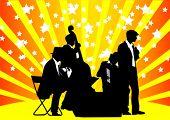 Постер, плакат: Векторной графикой оркестр Музыка на цвет фона