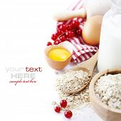 image of egg whites  - Fresh ingredients for oatmeal cookies  - JPG