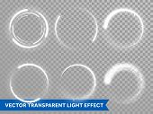 Light Flash Circle And Star Shine Effect On Vector Transparent Background poster