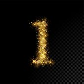 Gold Glittering Number One 1 On Black Background poster
