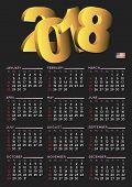 2018 Calendar English Vertical Usa Black poster