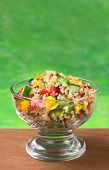 picture of quinoa  - Delicious vegetarian quinoa salad with bell pepper cucumber and tomatoes  - JPG