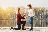 Marry Me. Engagement Of Young Couple. poster