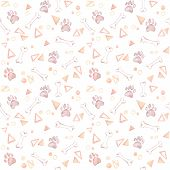 Cute Background. Hand Drawn Watercolor Seamless Pattern - Dog Paw, Bones, Triangles And Circles. Dom poster