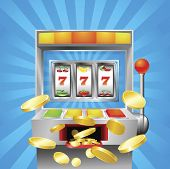 image of coin slot  - A slot fruit machine winning on 7s - JPG