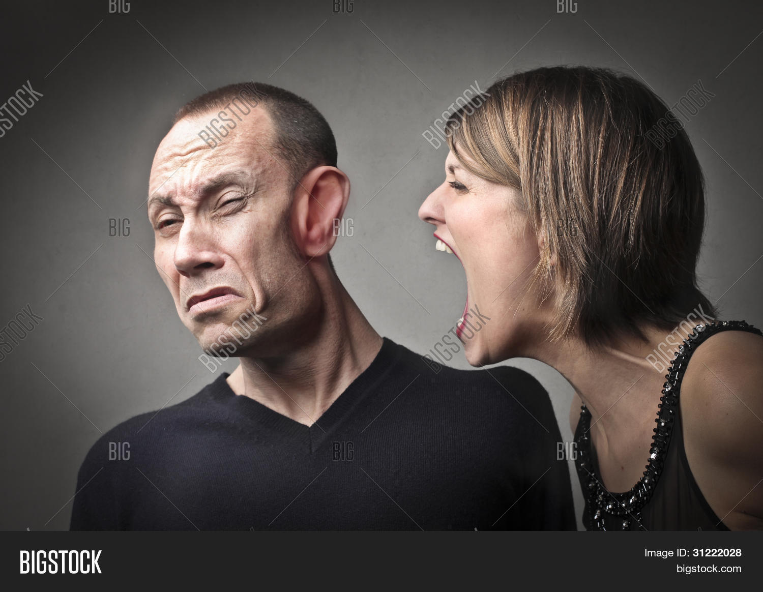 Angry Woman Screaming Against Her Image & Photo | Bigstock