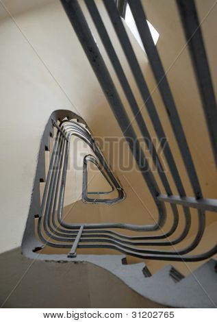 spiral stairs with metal bannister