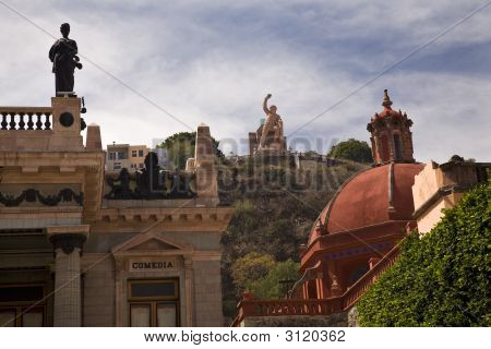 Theater Church Statues Guanajuato Mexico