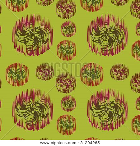 Green Seamless Background With Original Abstract Elements