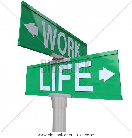 A green two-way street sign pointing to the words Work and Life, symbolizing the balance of career and job with your family or home life and overcoming stress of an imbalance of time